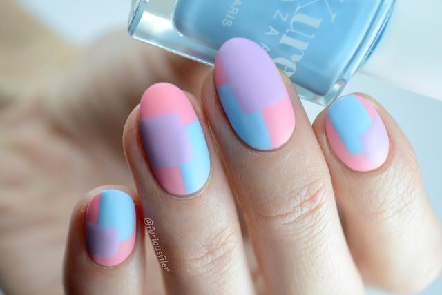 pastel colour block nail art trend geometric