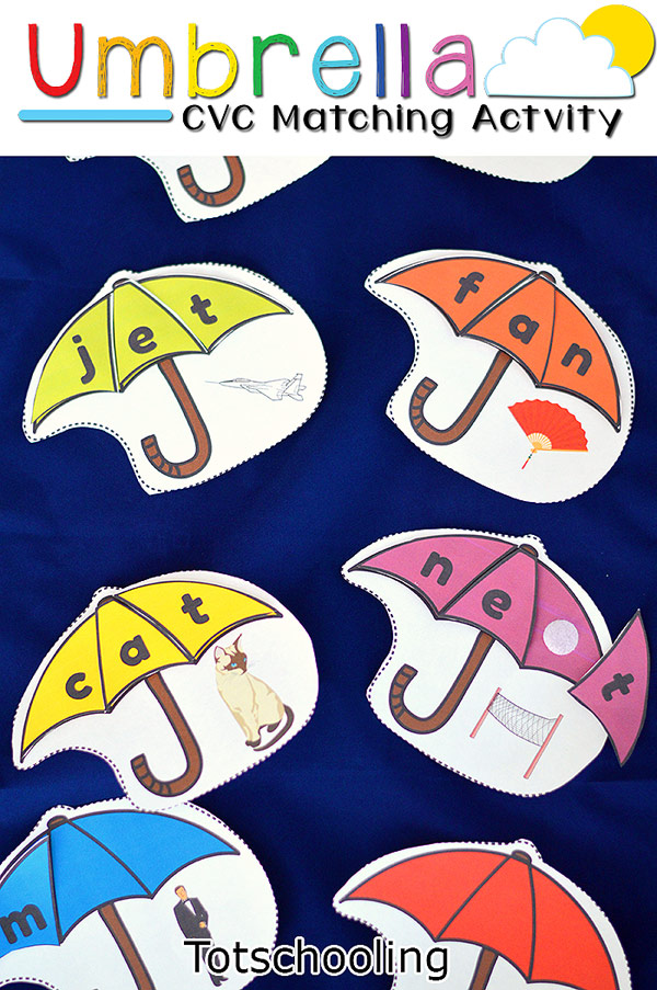 FREE printable CVC word building activity featuring umbrellas. Perfect Spring activity for kindergarten or beginning readers.