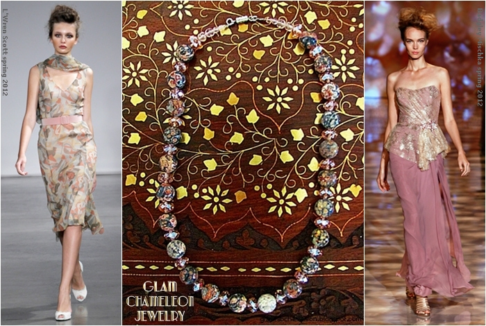 Glam Chameleon Jewelry pink leopard skin jasper and pink crystals necklace