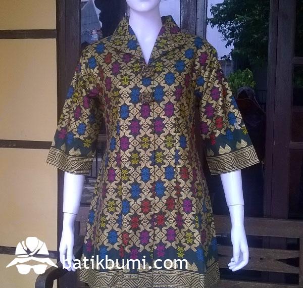 Tunik Batik Bali Prada Hijau dengan Furing
