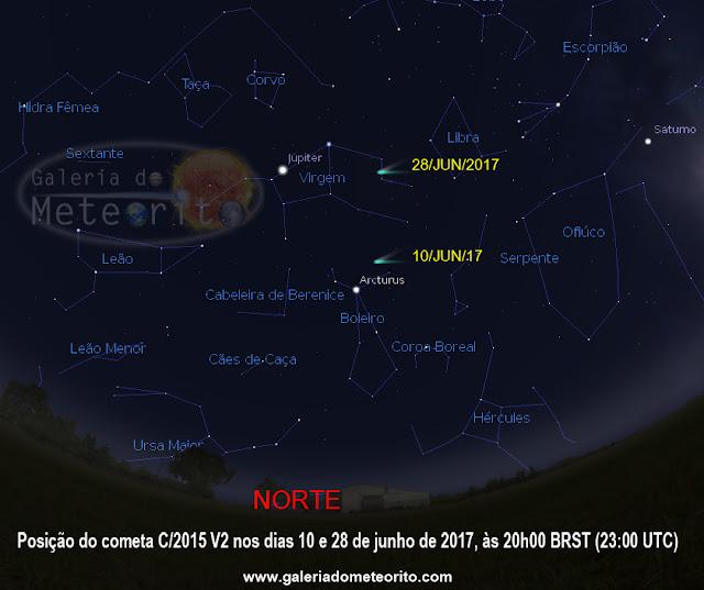 Como encontrar o cometa C-2015 V2 nos céus