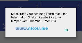 Maaf, kode voucher yang kamu masukan belum aktif. Silakan kembali ke toko tempat kamu membeli. Info:123.