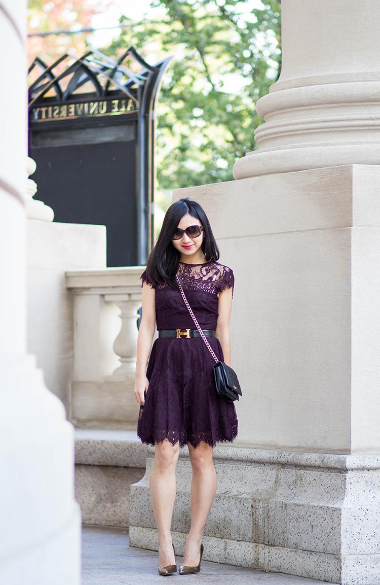 BB Dakota Rhianna Illusion Yoke Lace Fit & Flare Dress