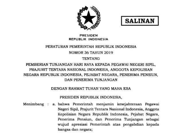 PP 36 Tahun 2019 Tentang THR PNS, TNI, POLRI, Pejabat Negara dan Penerima Tunjangan