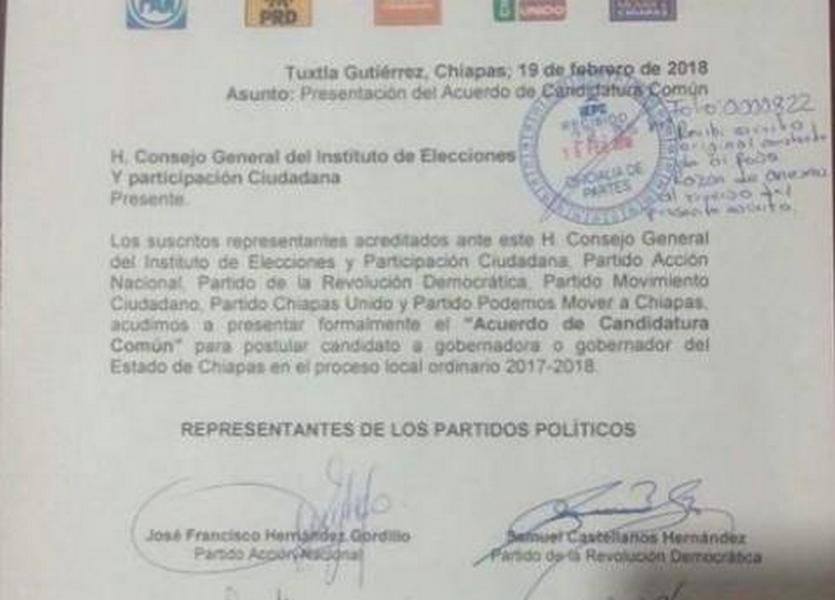 PAN, PRD y MC también rompen coalición en Chiapas