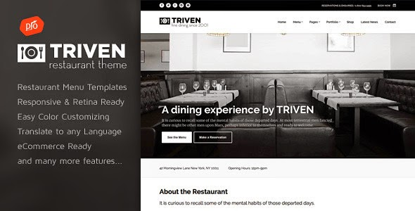 best restaurant website theme