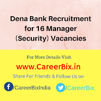 Dena Bank Recruitment for 16 Manager (Security) Vacancies