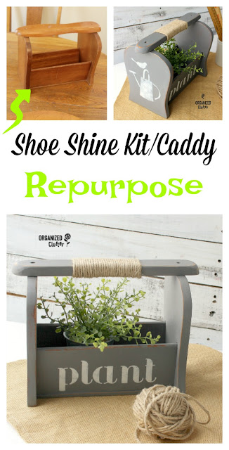 Shoe Shine Caddy Repurposed As A Spring Caddy #dixiebellepaint #stencil #shoeshinekit #repurpose #upcycle #springdecor