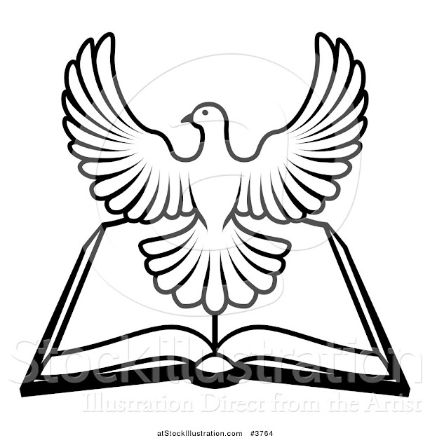 Vector Illustration Of Black And White Holy Spirit Dove Over An Open Bible