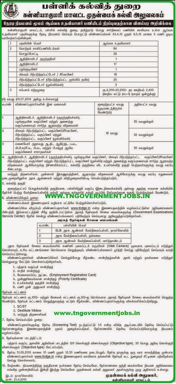Kanyakumari District CEO Lab Asst Recruitments 2015 (www.tngovernmentjobs.in)