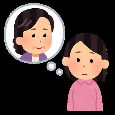 親を心配する人のイラスト(女性)