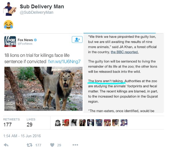 Nigerians react after India arrested 18 lions for eating human