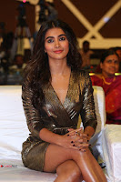 Pooja Hegde looks glamarous in deep neck sleevless short tight golden gown at Duvvada Jagannadham thank you meet function 156.JPG