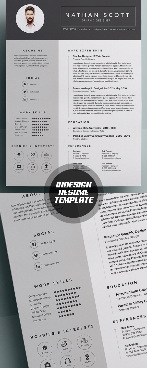 indesign resume template with a clean and modern format