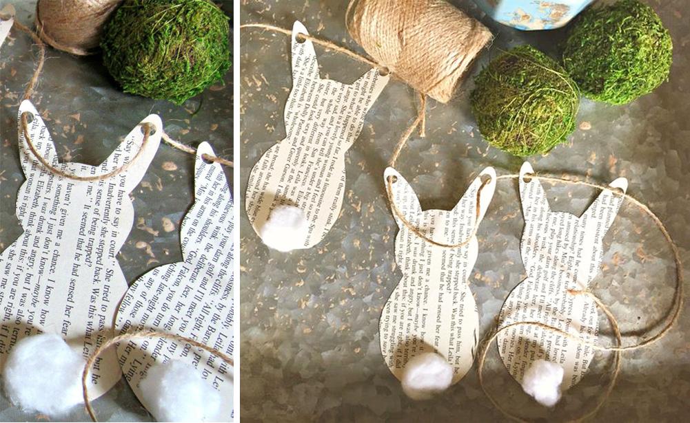 diy guirnalda de conejos con papel de periodico para decorar en pascuas facil y economico happy easter