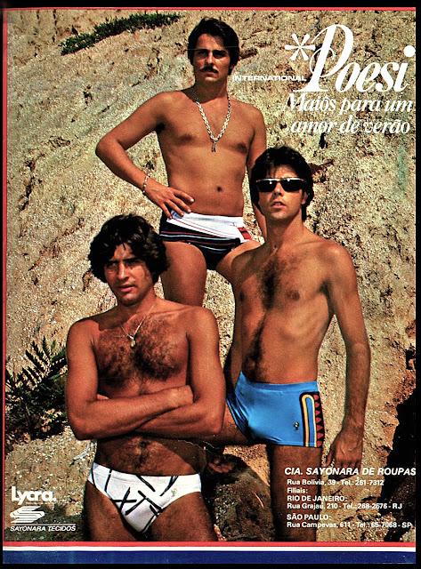 Propaganda da coleção de trajes masculinos para banho nos anos 70 da Internacional Poesi