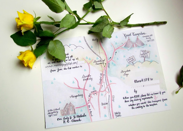 Minimal Map Wedding Invitations