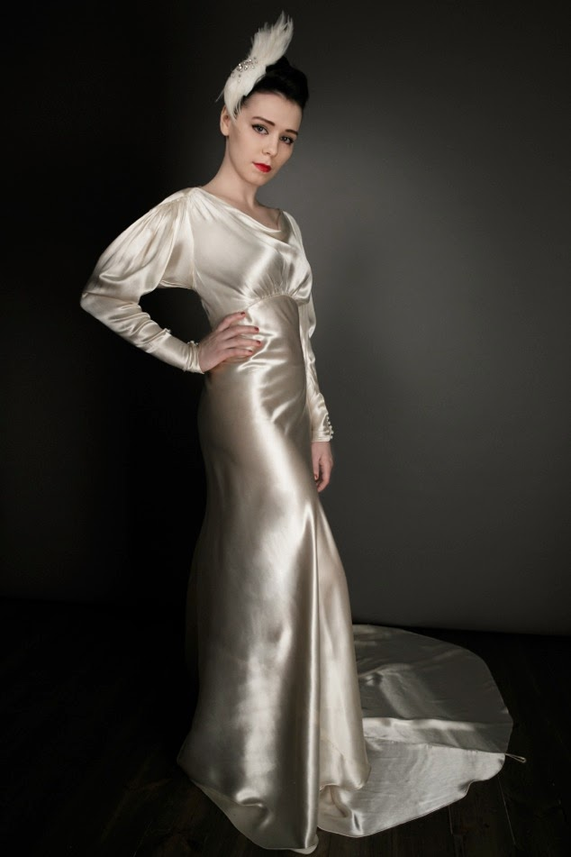 Super Glamorous Gold Satin 1930s Wedding Dress 1250 Incl Slip