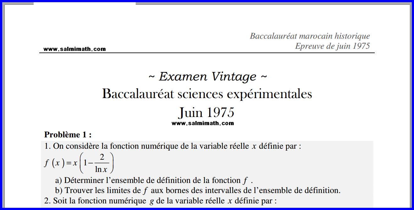 Examen baccalauréat mathématique sciences expérimentales Épreuve de juin 1975 Avec Correction