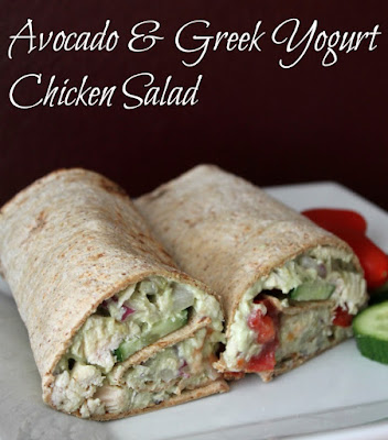 Avocado and Greek Yogurt Chicken Salad Wrap Without Mayonnaise #healthywraprecipes