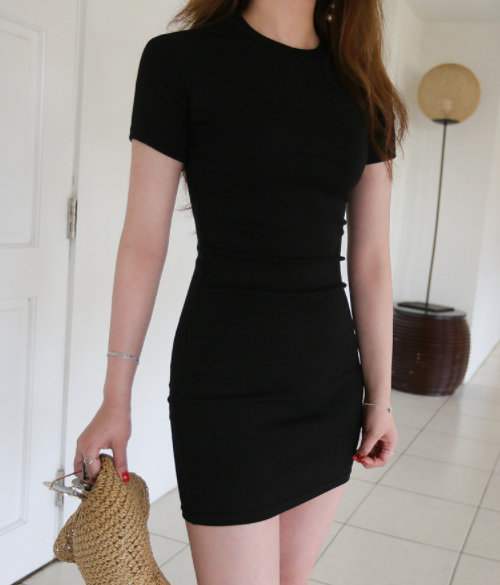 Round Neck Slim Fit Short Sleeve Dress