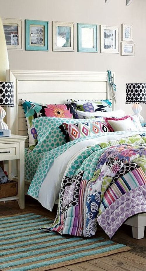 bright and mixed patterns bedding in a lovely bedroom