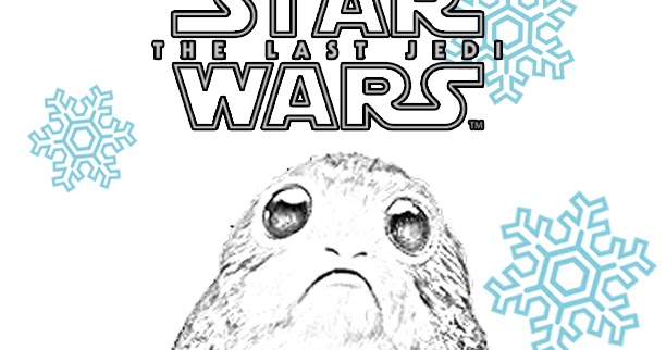 star wars the last jedi porg winter coloring page christmas or hanukkah too the star wars mom parties recipes crafts and printables last jedi porg winter coloring page