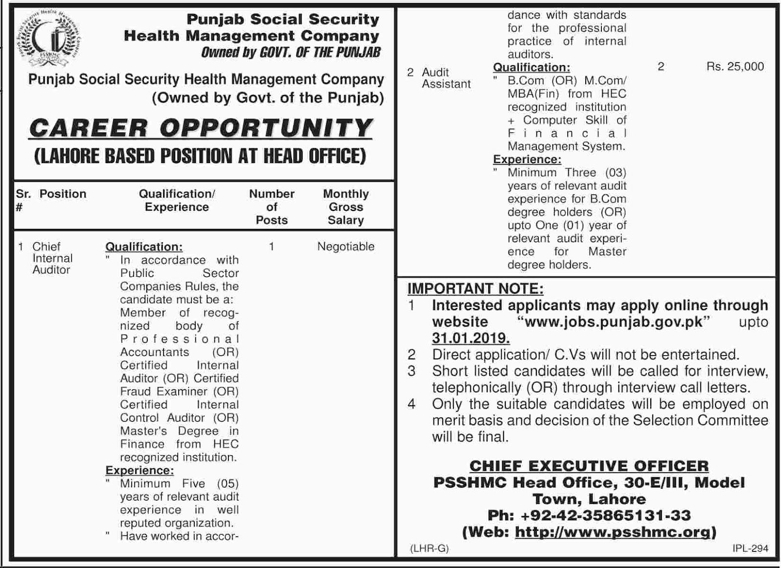 Jobs Vacancies In Punjab Social Security Health Management Company PSSHMC 15 January 2019