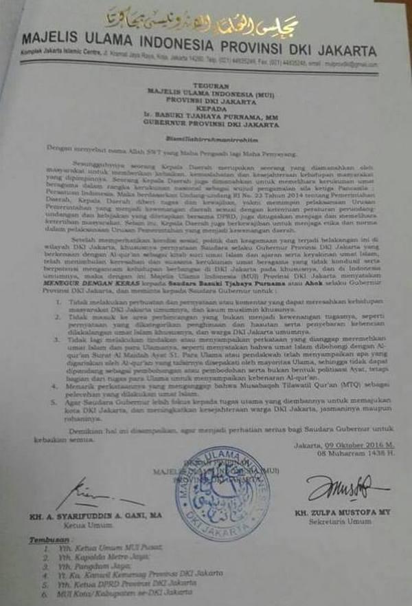 SURAT TEGURAN MUI DKI Jakarta Kepada Basuki Tjahaja Purnama Gubernur DKI Jakarta