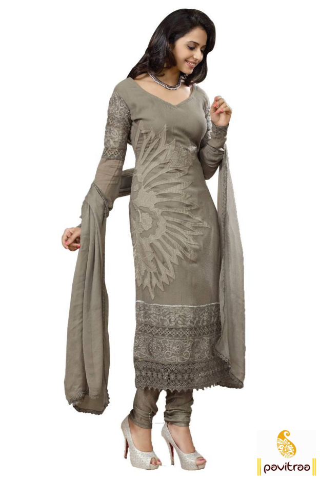 Rakul Preet Singh In Grey Embroidery Salwar Suit