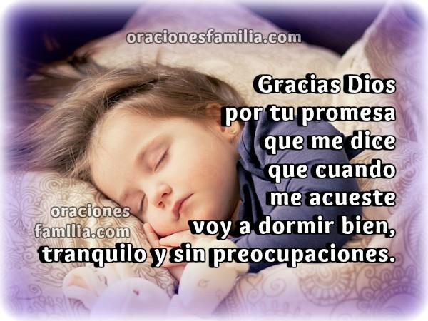 Frases con oraciones para dormir bien en la noche, descansar con Dios, oración cristiana por Mery Bracho.