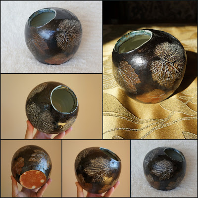 Soda fired and Japanese anemone leaf imprinted pottery by Lily L.