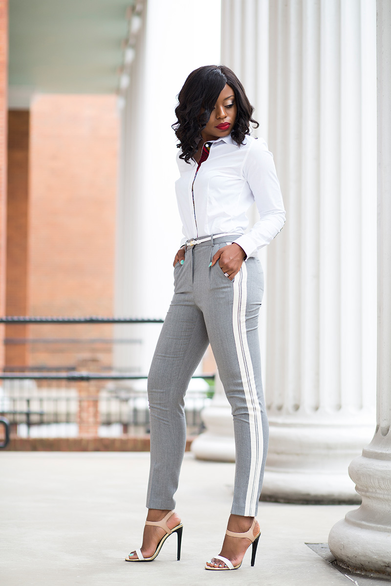Work Style in Grey trouser  and button down shirt