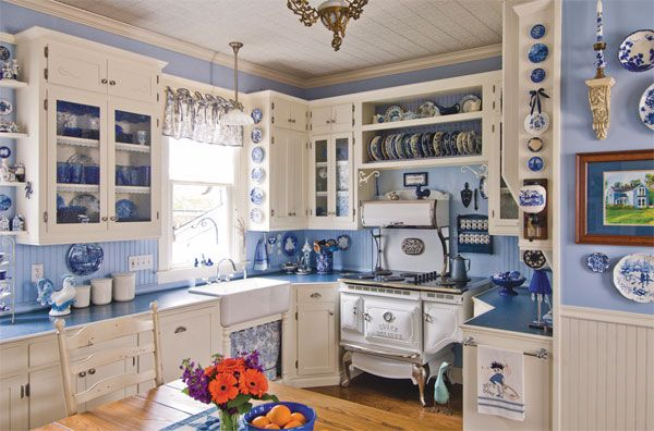 Blue And White Country Gingham Kitchen