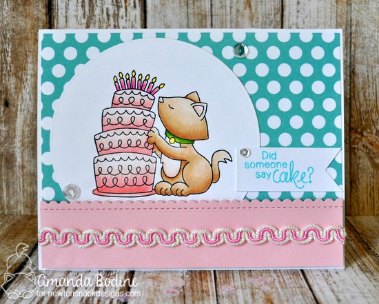 Birthday Cake Card by Amanda Bodine | Newton Loves Cake Stamp set by Newton's Nook Designs #newtonsnook