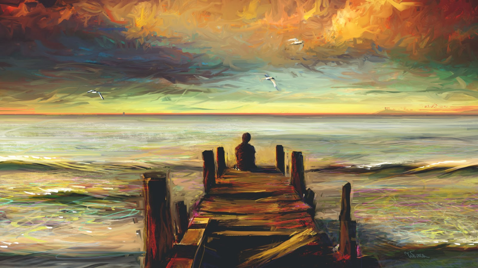 Lonely boy at sea watching sunset oil painting