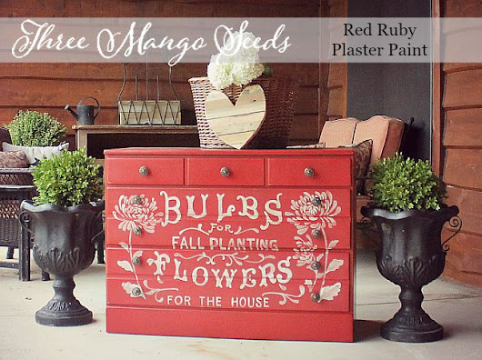 Red Dresser with hand painted typography