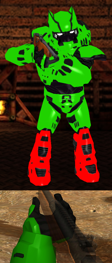Green with red feet