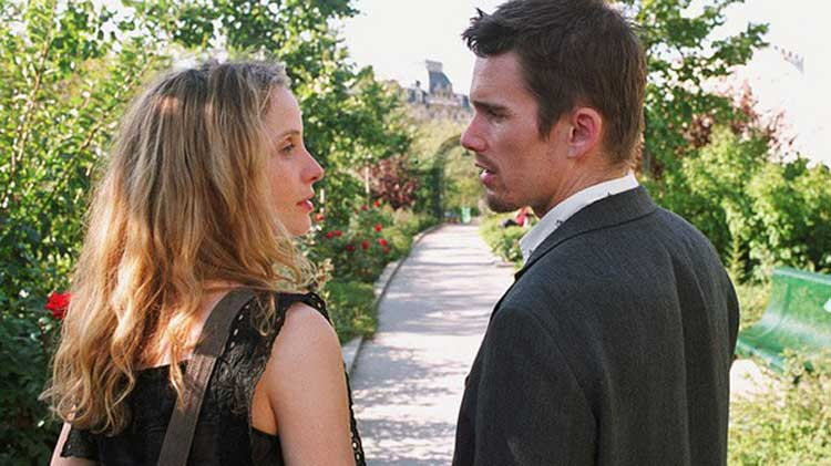 Julie Delpy and Ethan Hawke star in Before Sunrise.