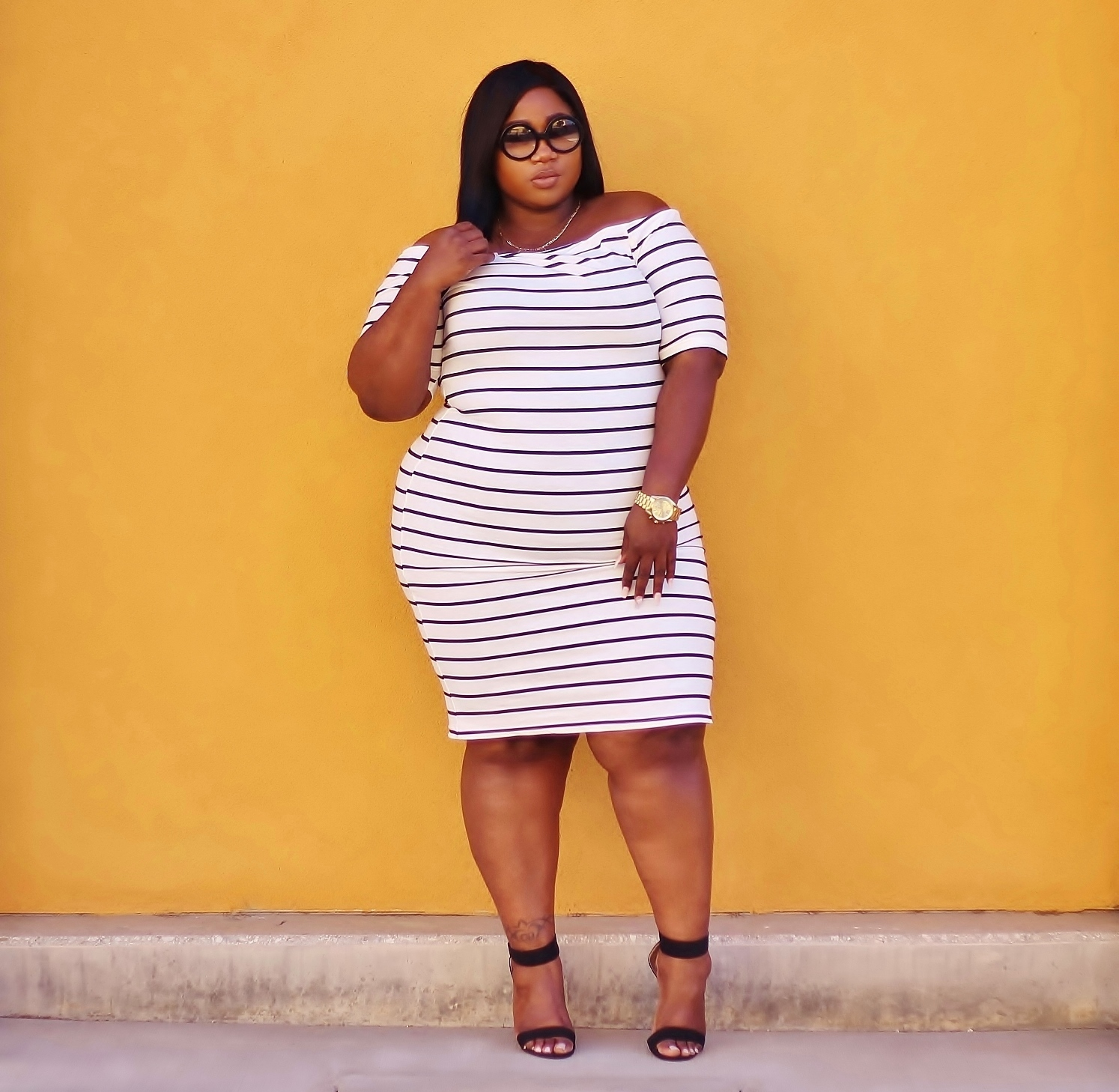 rainbow plus size striped dress