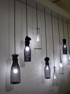 arte y arquitectura dise o reciclado l mparas con botellas de vidrio. Black Bedroom Furniture Sets. Home Design Ideas