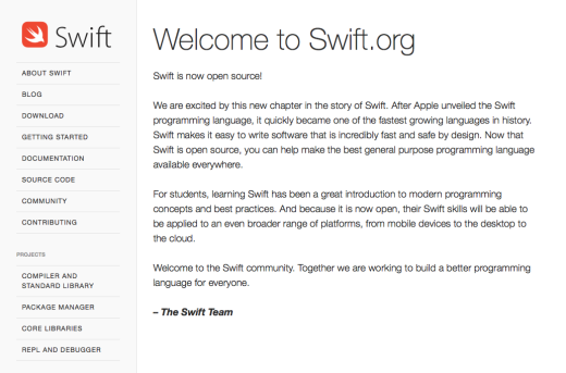 Apple's swift programming language is now open source