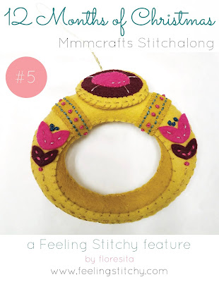 12 Months of Christmas Stitchalong 5 Gold Ring pattern by Larissa Holland as stitched by floresita for Feeling Stitchy