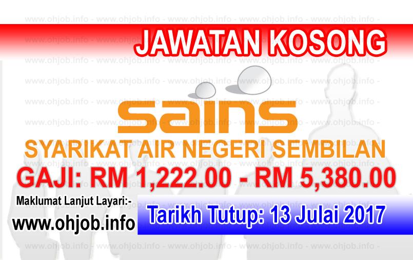 JawatanKerja Kosong Syarikat Air Negeri Sembilan - SAINS logo www.ohjob.info julai 2017