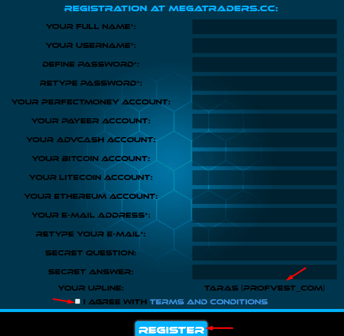 Регистрация в Mega Traders 2