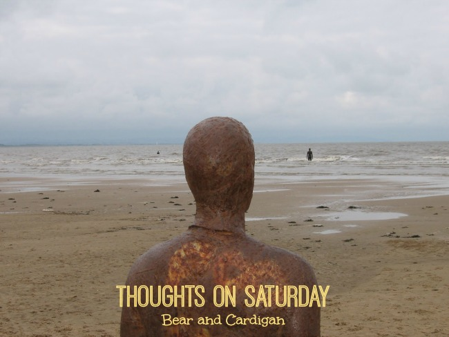 thoughts-on-saturday-bear-and-cardigan-text-over-image-of-another-place-anthony-gormley-crosby-beach