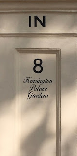 Address Gate Post for 8 Kensington Palace Gardens,  London
