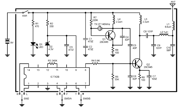 mhz transmitter-receiver radio control related to its pcb  assembly/construction  the picture below shows the schematic diagram of the  transmitter using