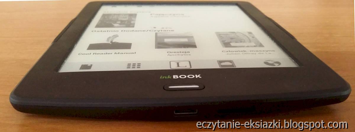 InkBOOK LUMOS – dolna krawęź obudowy z wejściem microUSB i slotem na kartę microSD
