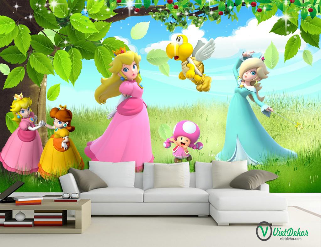 Tranh dán tường 3d công chúa trang trí phòng cho bé gái